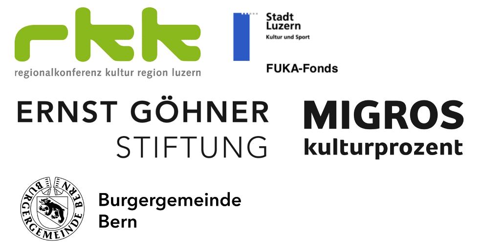 Logos des Gönner: regionalkonferenz region luzern, FUKA-Fonds der Stadt Luzern, Ernst Göhner Stiftung, Migros kulturprozent und Burgergemeinde Bern